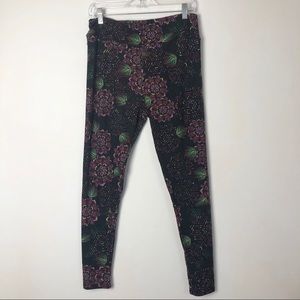 Lularoe women's black floral tall & curvy leggings
